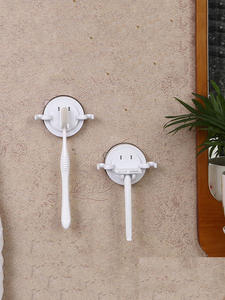 Hooks Toothbrush-Holder Suction-Cup Bathroom-Accessories Wall-Mount Electric Storage