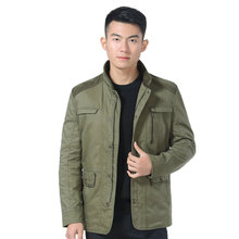 цена на Man Casual Jacket Autumn Spring Army Green Stand Collar Zipper Front Basic Coat Male Leisure Multi Pockets Design Outerwear Men