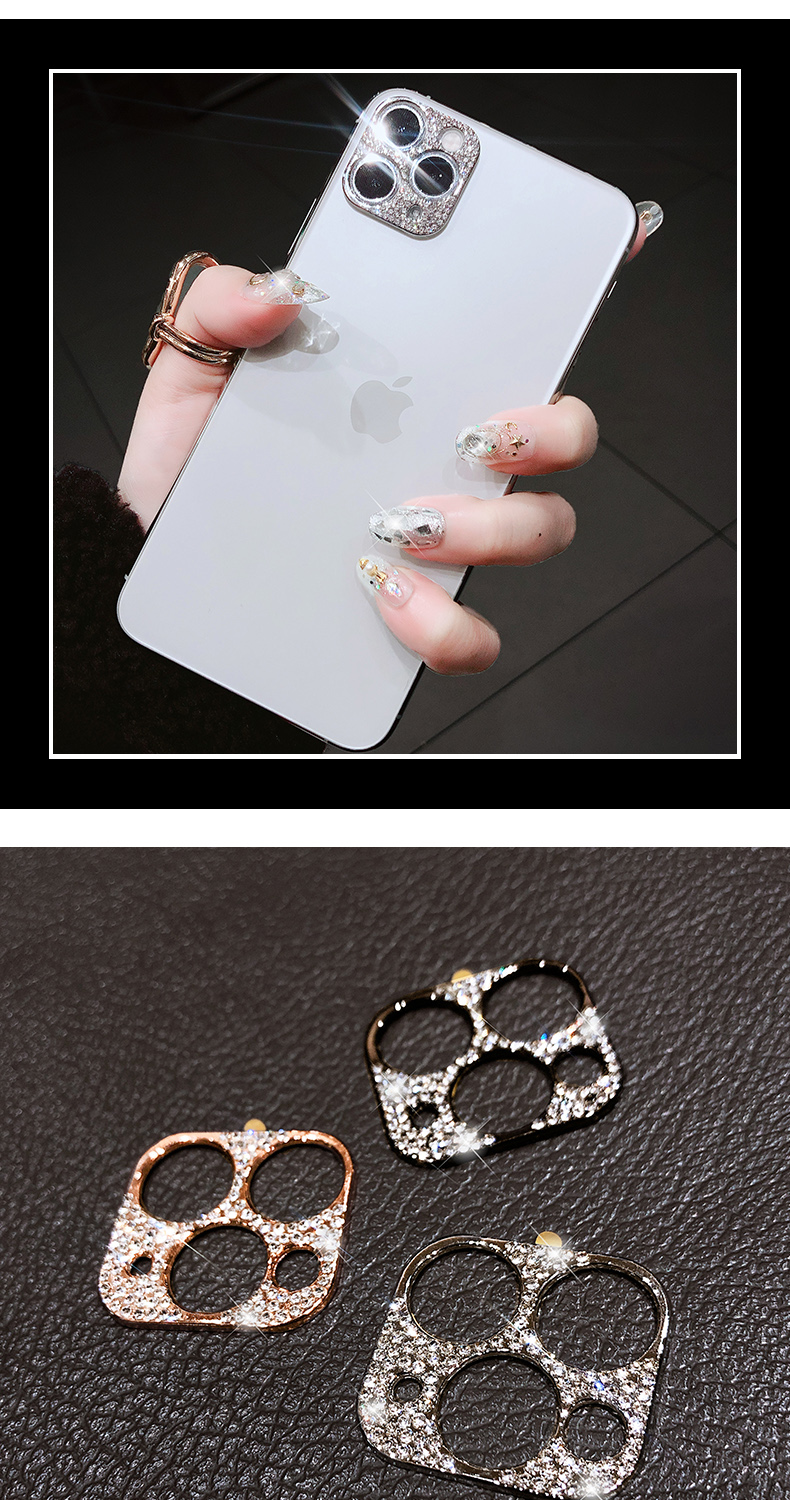 Bling Diamond Glitter Rhinestone Camera Protective Lens For iPhone 11 Pro Max Ring 8