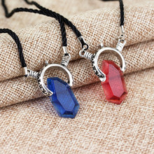 Trendy DMC Devil MayCry 5 Dante Pendant Necklace Red Blue GEM Cosplay Necklaces Long rope chain vintage Gifts for Women men(China)