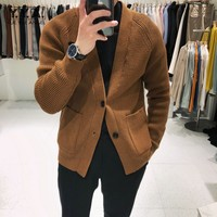 2020 Winter Knit Cardigan Sweater Mens Business Casual Sweatercoat Solid Long Sleeve V Neck Single Breasted Pocket Men Sweaters