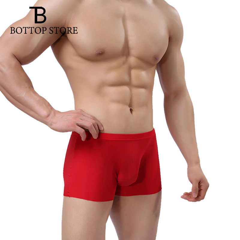 MLXN Sexy Men's Seamless Ultra-thin Transparent Boxershorts Man Boxer Shorts Male Underwear Slip Gay Pouch Underpants Breathable