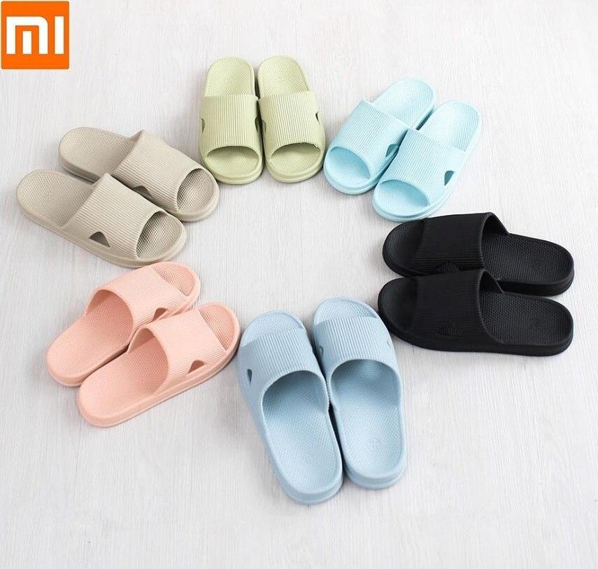 Xiaomi One cloud Summer Home Bathroom Flat Bath slippers Soft breathable Women Men Casual sandals Non-slip wear Slippers Summer(China)