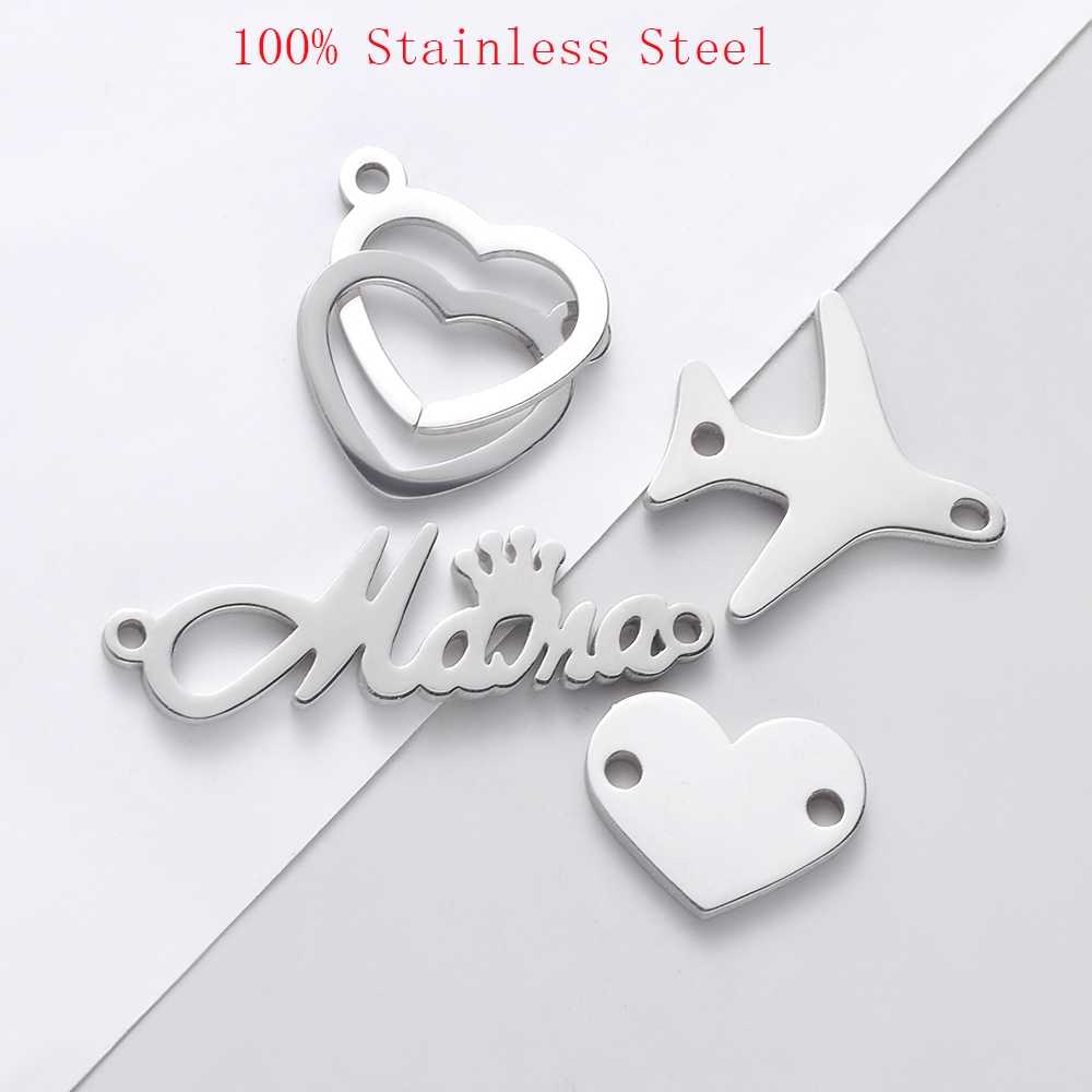 30pcs/Lot Stainless Steel Mirror Polished Mama Heart Airplane DIY Charms Pendants For Jewelry Making Accessories image