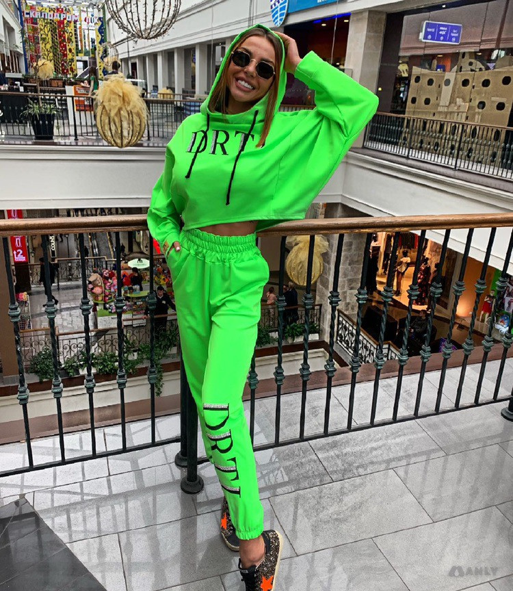 Hfe70e2f60d6144df88f17b33e270722cw - OMSJ Autumn Neon Green Two Piece Set Women Lace Up Outfits Solid Orange Casual Suit Female Clothing Crop Top and Pants Tracksuit