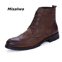 Misalwa New Men PU Leather Ankle Oxford Boots British Style Male Casual Lace Up