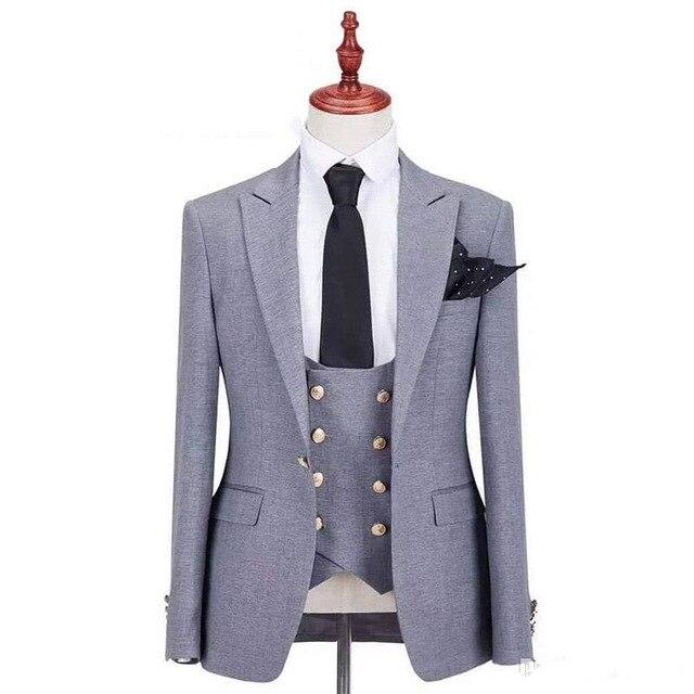 One Button Groomsmen Peak Lapel Groom Tuxedos Men Suits Wedding/Prom Best Man Blazer ( Jacket+Pants+Vest+Tie)