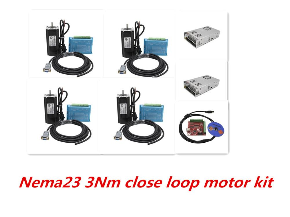 2020 promotion 3axis Daul Y  4 set Nema23 3Nm close loop motor +HBS57H driver+power supply 350w36v +4 axis Mach3 for CNC
