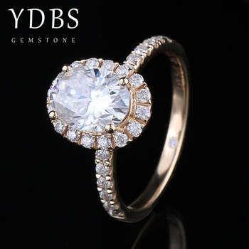 YDBS 10K Yellow Gold Center 7mm 1.5ct Cushion Cut Oval Moissanite Wedding Engagement Ring for Women