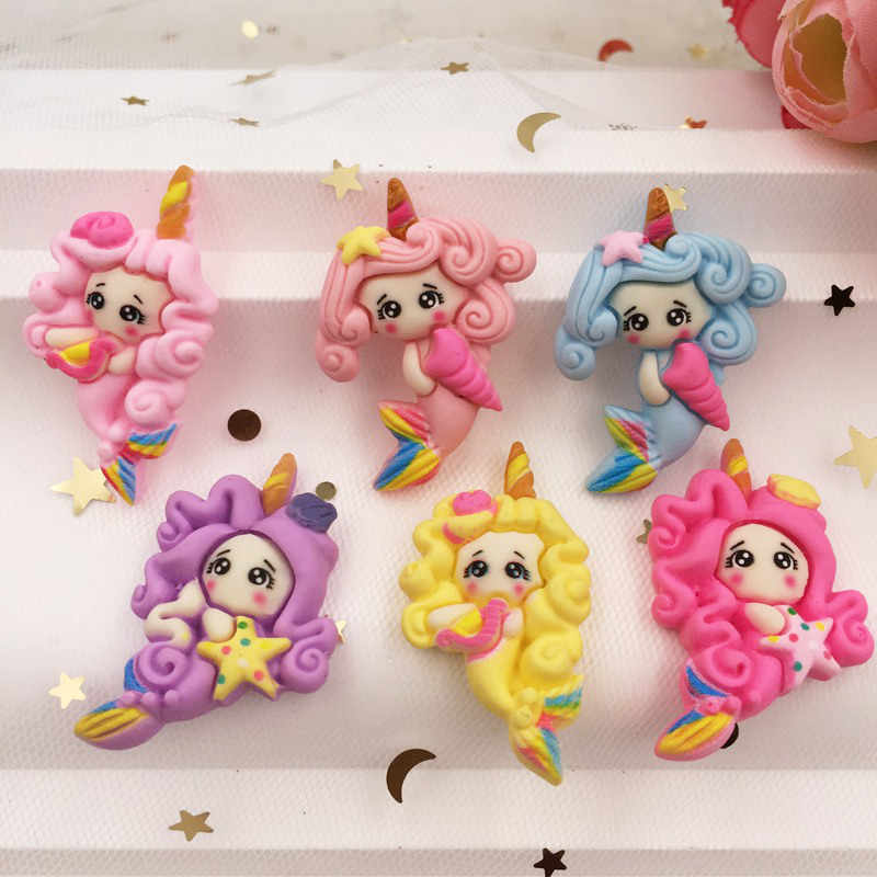 Hand Painted Resin Mix Kawaii Colorful Mermaid Flatback Cabochon Stone 6PCS Scrapbook DIY  Decor Home Figurine Crafts
