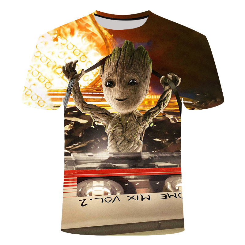 2019 Groot T Shirts Tees Men PORG X Planet Monarch Bounty Hunter Superhero Movie Guardians Of The Galaxy Lovely COOL Funny Shirt