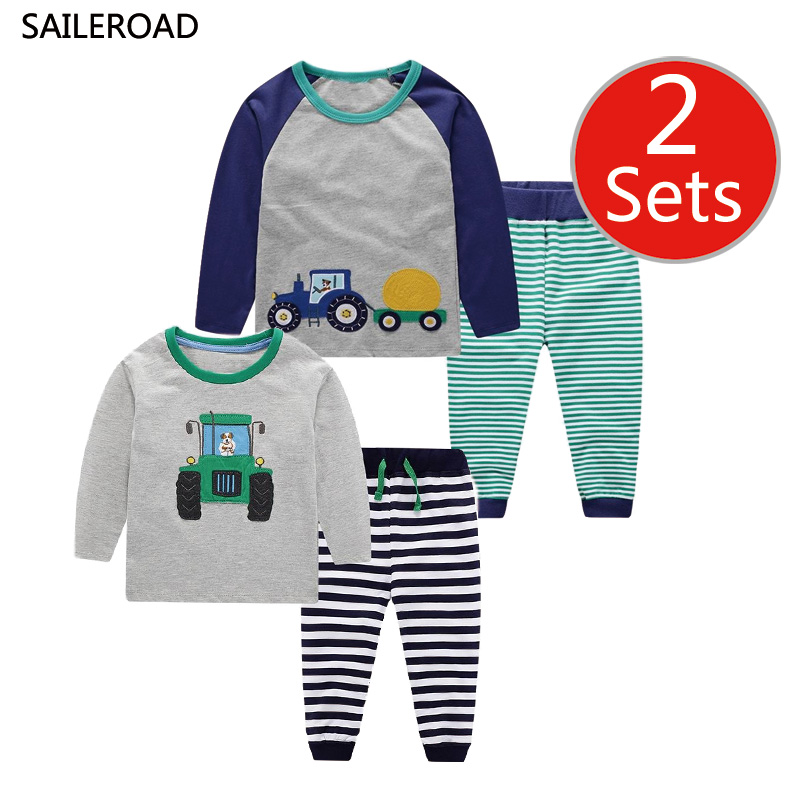 SAILEROAD 2 Set Children's Cartoon Tractor Clothes For Boys Pajamas Set Girls Animals Printed Clothing Cotton Kids Outfits Suits