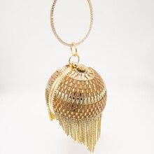 Boutique De FGG Elegant Tassels Women Round Bag Ball Purses Crysal Evening Clutch Bags Wedding Party Diamond Wristlets Handbags