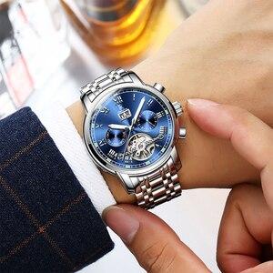 Image 3 - Ik着色高級メンズ腕時計自動スケルトン機械式時計防水カレンダー腕時計