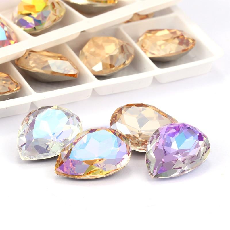 Scintillio colorato lacrima K9 vetro strass vetro cristallo Pointback strass colla su abbigliamento artigianato accessori gioielli