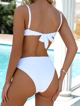 Solid Hollow Side Lace Up Women Swimming Suit