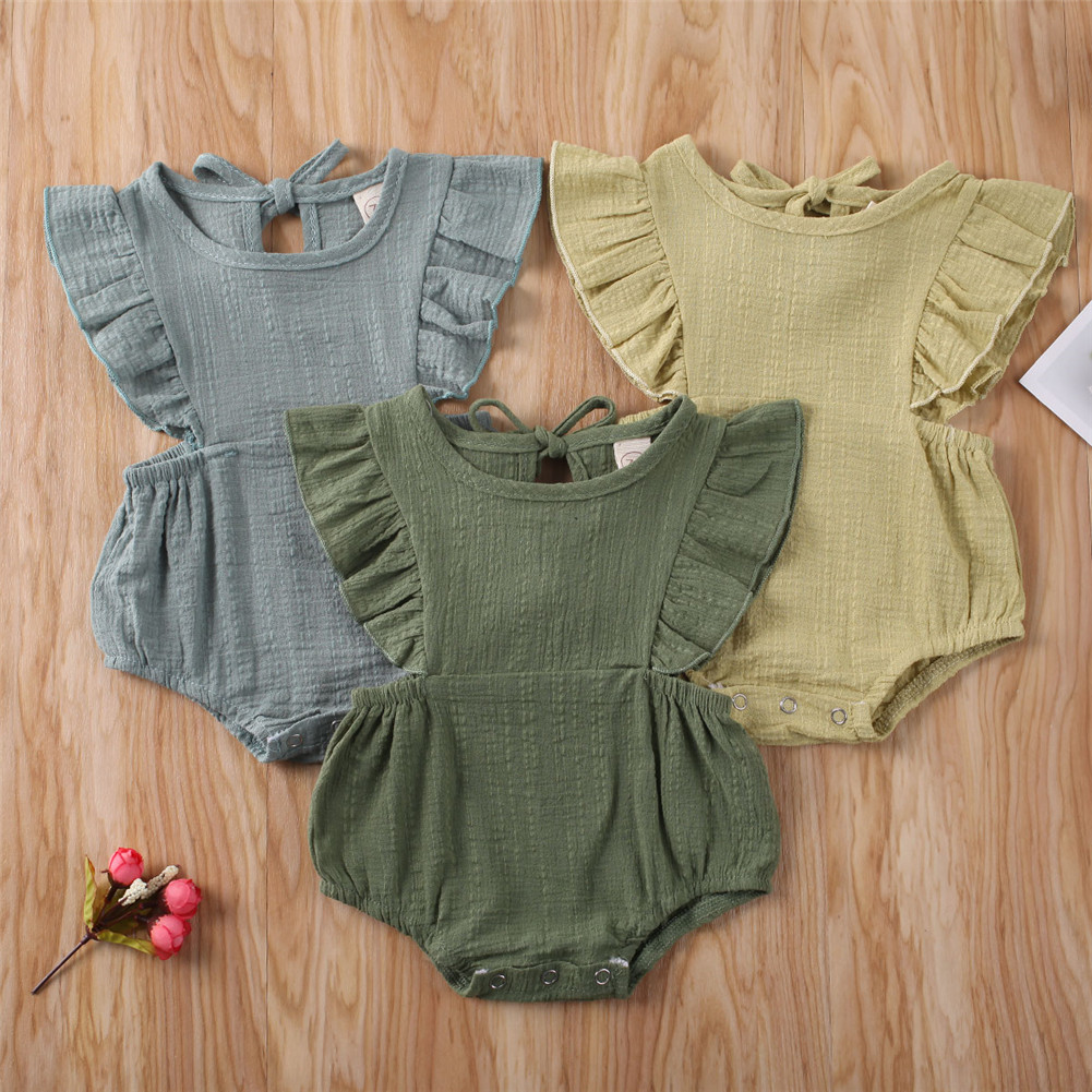 AU Newborn Baby Girl 0-12M Clothes Ruffle Romper Jumpsuit Bodysuit Summer Outfit
