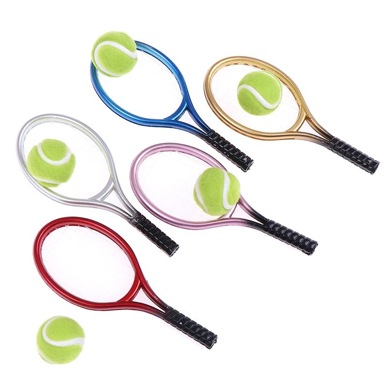 2Pcs 1:6 1:12 Dollhouse Miniature Tennis Racket Ball Dolls Accessor S Zz