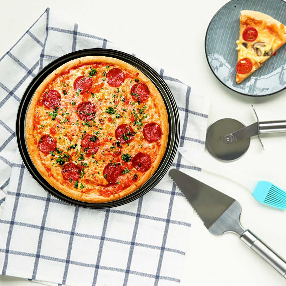 Bandeja para hornear pizzas antiadherente de acero al carbono, bandeja de malla, bandeja para hornear, herramienta para hornear