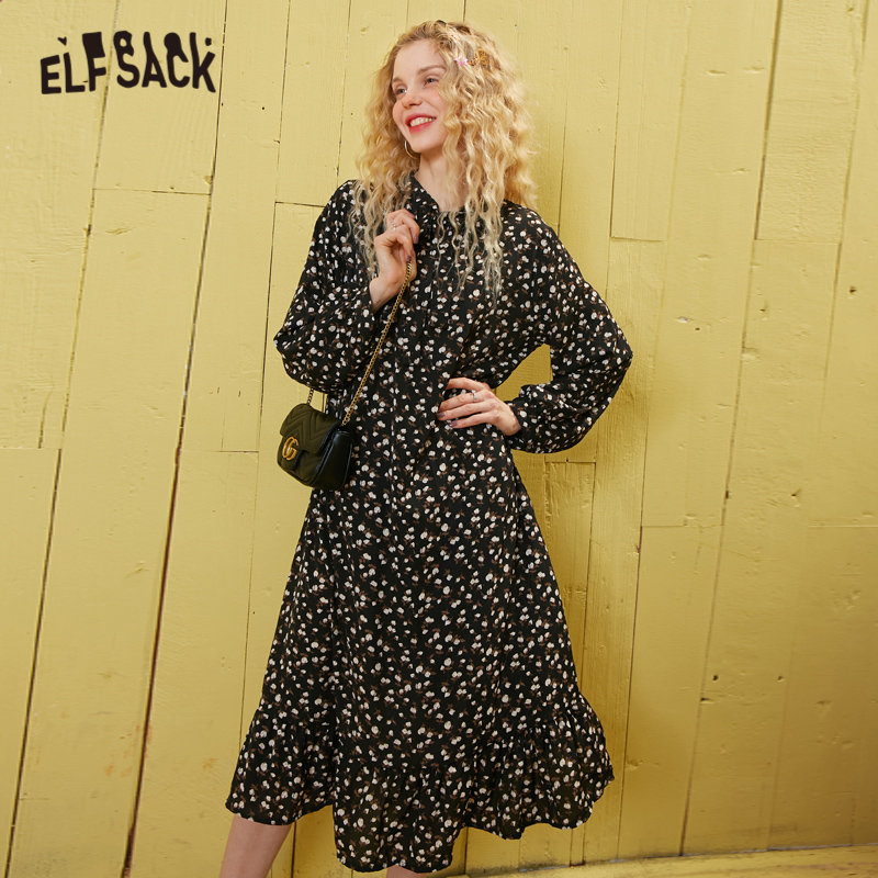 ELFSACK Burgundy Floral Print Tie Neck Casual Boho Chiffon Dress Women 2020 Spring Korean Lantern Sleeve Ladies Holiday Dresses