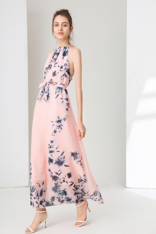 Zoe Saldana Long Dress Flowers Printed chiffon O-Neck Summer Loose Bohemian dress Large Size S-6XL