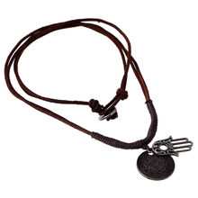 Good Luck Protection Hamsa Symbol Fatima Hand Evil Eye Pendant Leather Necklace P22(China)