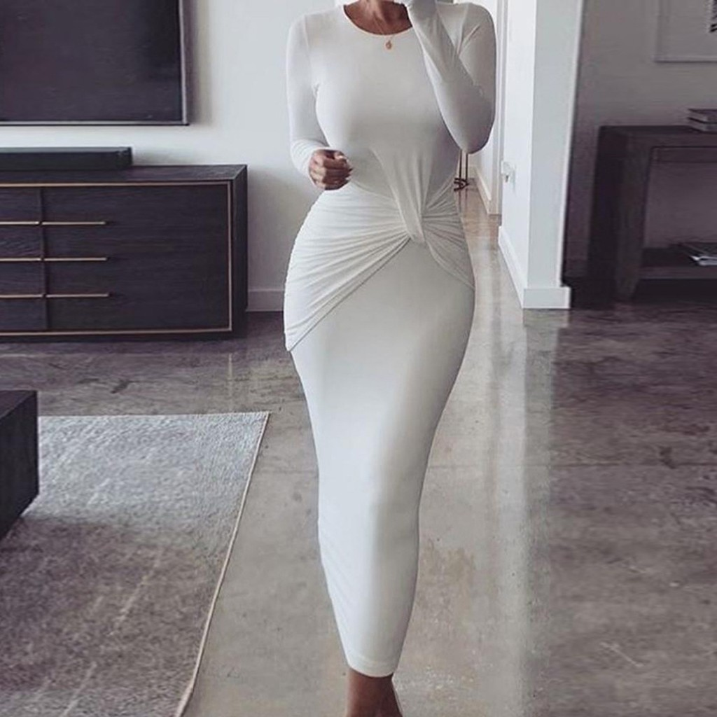 2020 New Arrival Winter Women O-Neck Long Sleeve Solid Color Fold Hip Casual Mini Dress club bodycon dresses#45