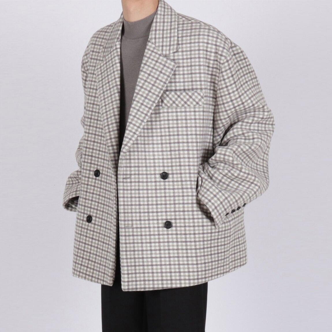 Men's Gray Color Lattice Suit Snow Jacket Blazers Cashmere Woolen Blends Trench Coat Cotton-padded Clothes Parkas Outerwear