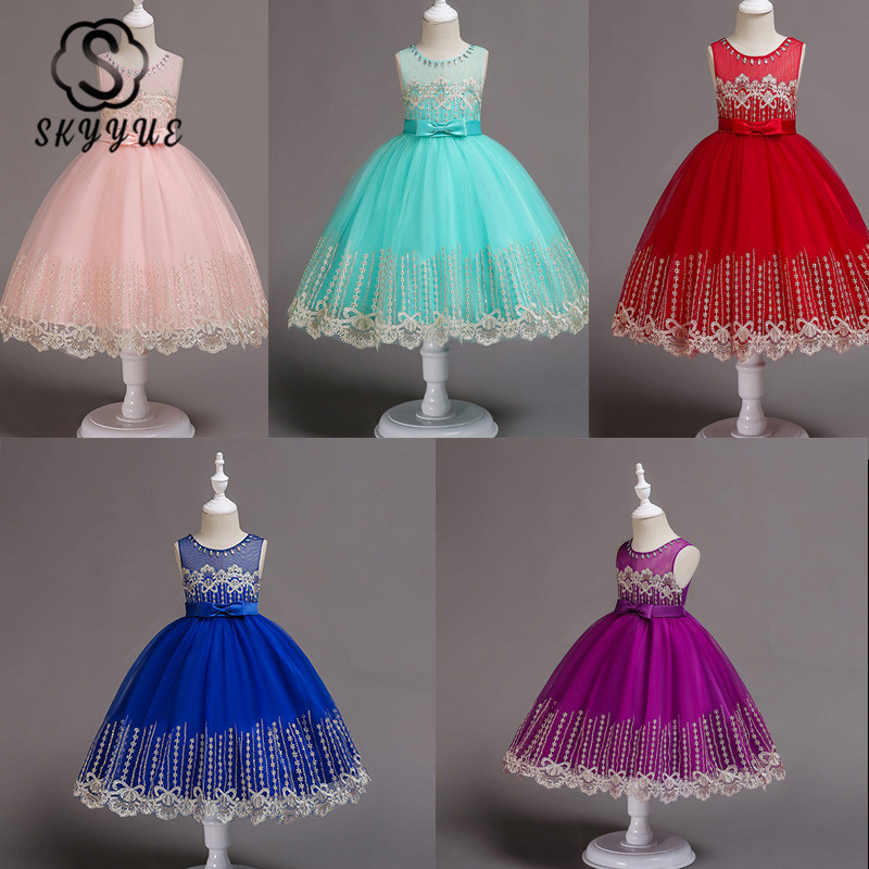 Skyyue Girl Pageant Dress Appliquie Lace Flower Tulle Flower Girl's Dresses for Wedding Appliques Communion Gowns 2019 598