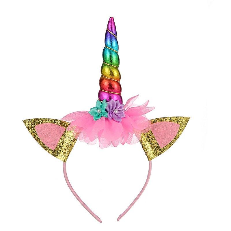 1pc 13CM Kawaii Unicorn Headband Plush Toys Lovely Children Baby Birthday Party Dolls Stuffed Toys Halloween's Headwear Toy