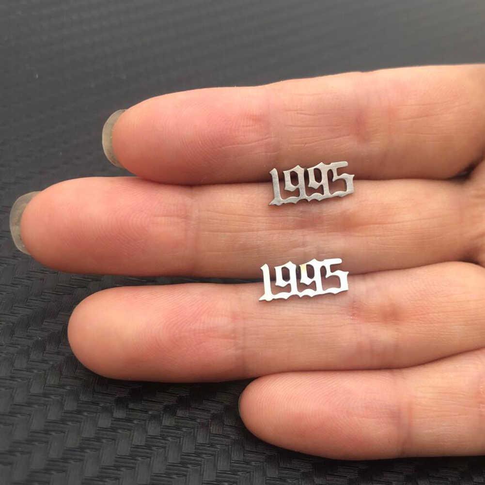 1 Đồng Hồ Thép Không Gỉ Số Bông tai Nam Nữ Sinh Nhật Tặng Tùy Chỉnh Trang Sức Earing Năm 1980 đến 2019 Cá Tính Tặng