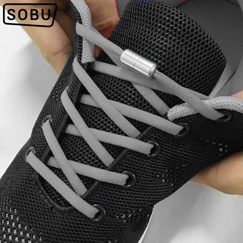 1 Pair Metal Lock NO TIE Shoelaces Stretched Lazy Round Shoe Lace Slip-on Shoelaces Elastic Laces Shoestrings 16 Colors