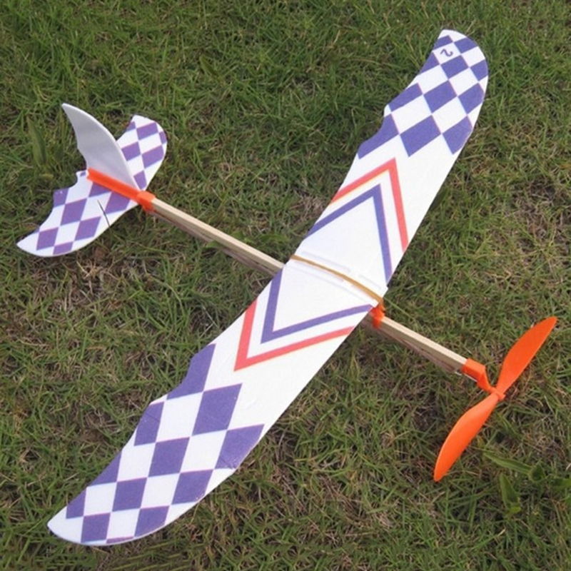 Rubber Band Powered Glider Flying Plane Airplane Model DIY Assembly Toy Kid Gift