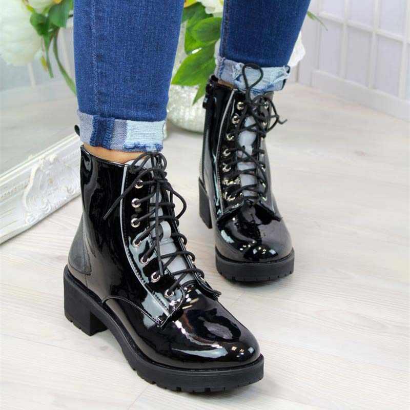 DAHOOD femmes bottes de moto automne en cuir PU bout rond à lacets chaussures de Combat filles pompes bureau bottes de neige formelles