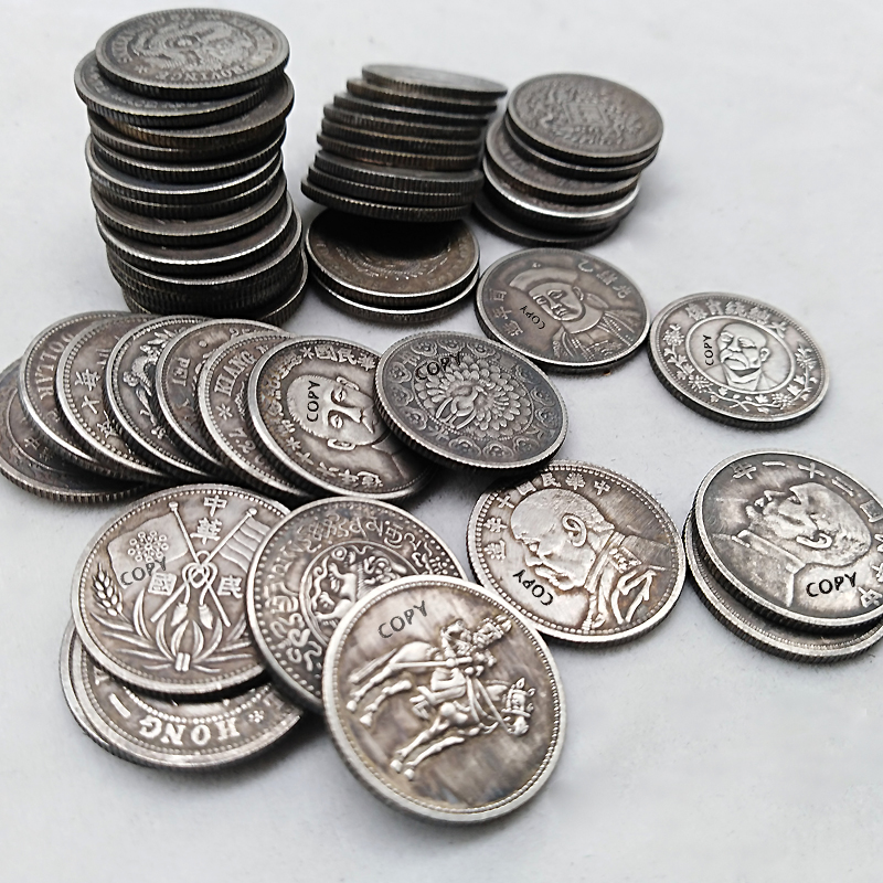50pcs Chinese Coins 19mm Lucky  Feng Shui Silver Coins Different Kinds Of Copy Coin