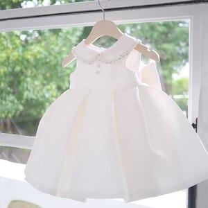 Белое платье для маленьких девочек с бисером, платье для дня рождения для девочек, элегантное бальное платье, вечерние платья принцессы, лет...