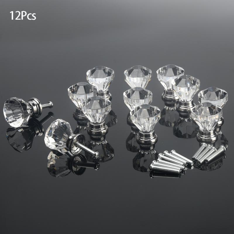 12pcs/lot Diamond Shape Wardrobe Handles Design Crystal Acrylic Knobs Cupboard Drawer Pull Kitchen Cabinet Door Handles Hardware