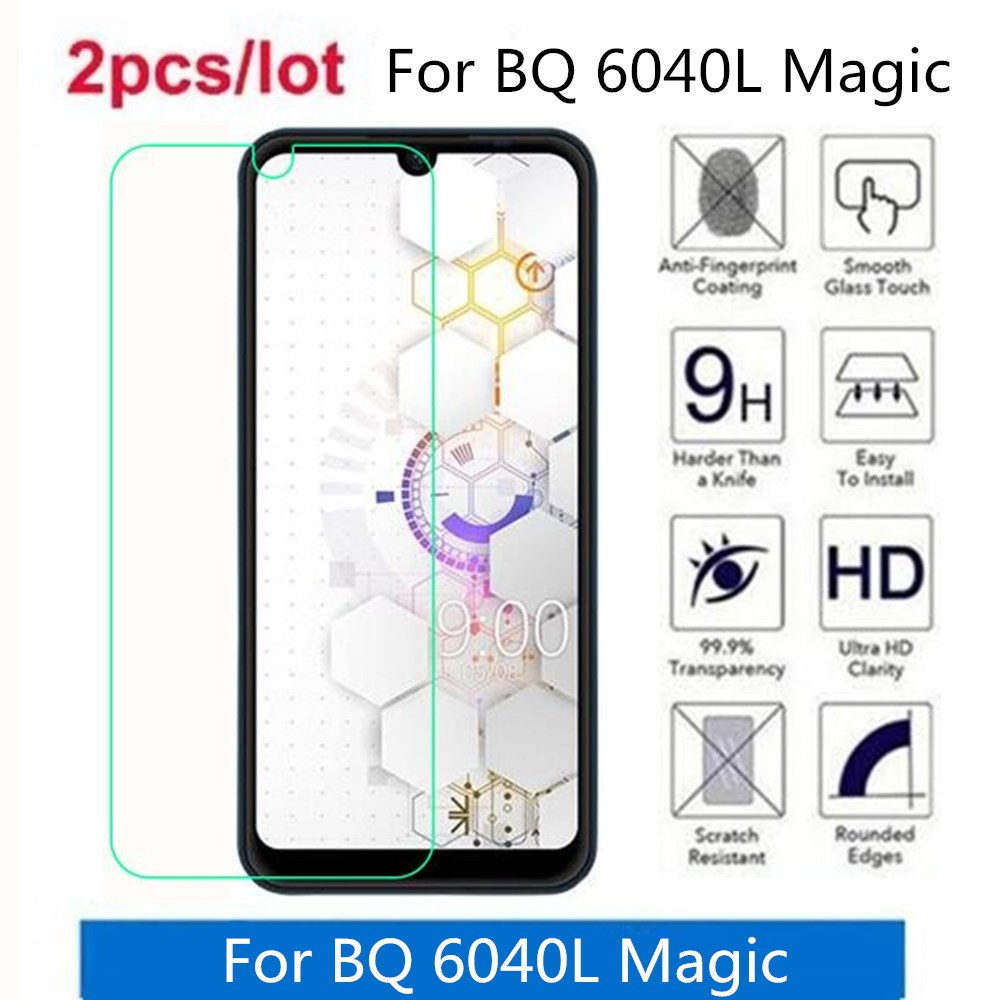2 Pcs/Lot For BQ 6040L Magic Tempered Glass 9H 2.5D Premium Screen Protector Film On For BQ 6040L Magic