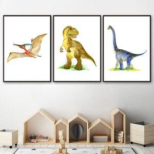 Юрский динозавр Т-Рекс Трицератопс художественный Принт плакат сафари животные картина холст картина Детская комната Украшение стен в дет...