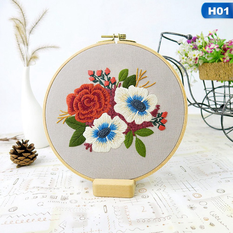 Sewing Arts Crafts DIY Embroidery Cross Stitch Kits Hoop Handmade Cartoon Flower Patterns Needlework Set with Embroidery-4