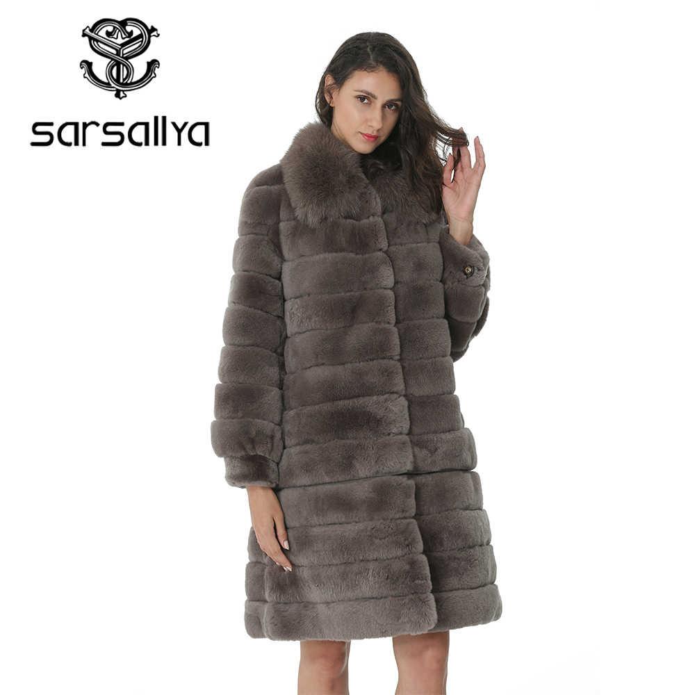 Kaninchen Fell Frauen Mantel Abnehmbare Mantel Jacke Warme Winter Frauen Kleidung Natürliche Pelz Weibliche Mantel Jacke