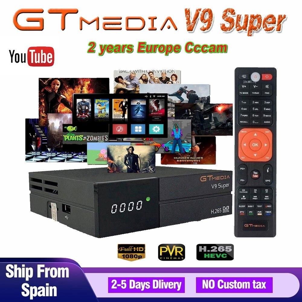 GTMedia V9 Super Satellite Receiver Full HD DVB-S2 Bult-In WiFi With 2-Year Europe 7 Cable Lines Same GTMedia V8 Nova Receiver