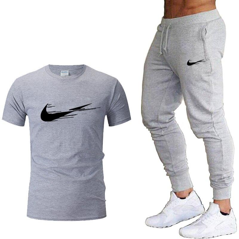 Men's Tshirt Tracksuit 2Pcs sets Men Casual Fitness Sport Suit Short sleeve t shirt+Jogger trousers Men's Casual Sportswear suit