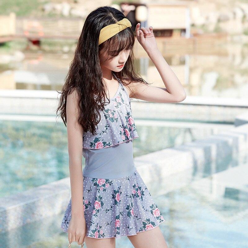 Students Big Boy CHILDREN'S Swimwear Floral-Print Korean-style Camisole Conservative Skirt Slimming One-piece Triangular Hot Spr