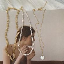 Vintage francés de perla de agua dulce Irregular chapados en oro enlace grueso cadena collares para las señoras de las mujeres collar de perlas