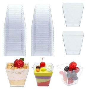 50pcs Disposable Plastic Cups Portion Transparent Clear Trapezoidal Food Container for Jelly Yogurt Mousses Dessert Baking 60ml