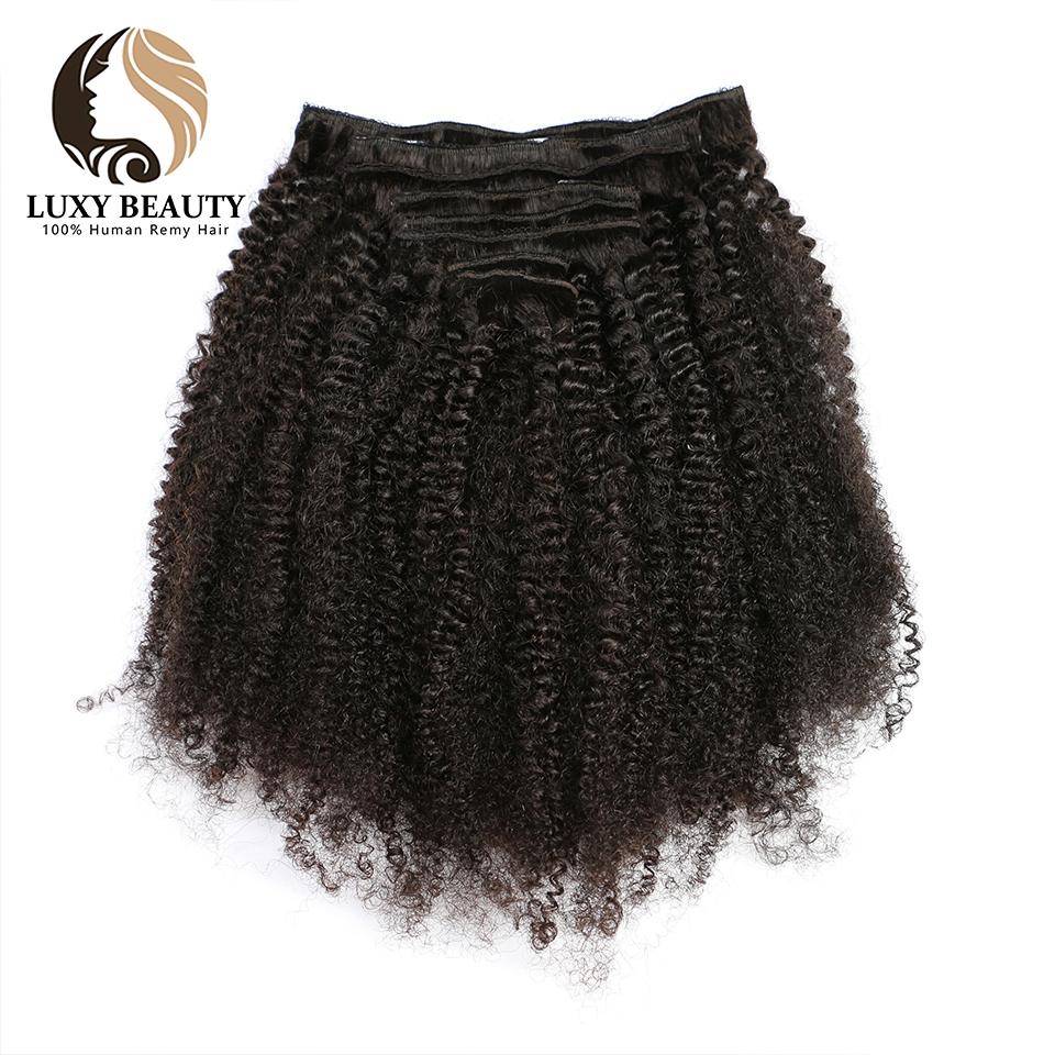 Luxy beauty  8 Pieces human hair clips hair clip in extensions Afro Kinky Curly 120g/Set Natural Color Remy Hair afro human hair