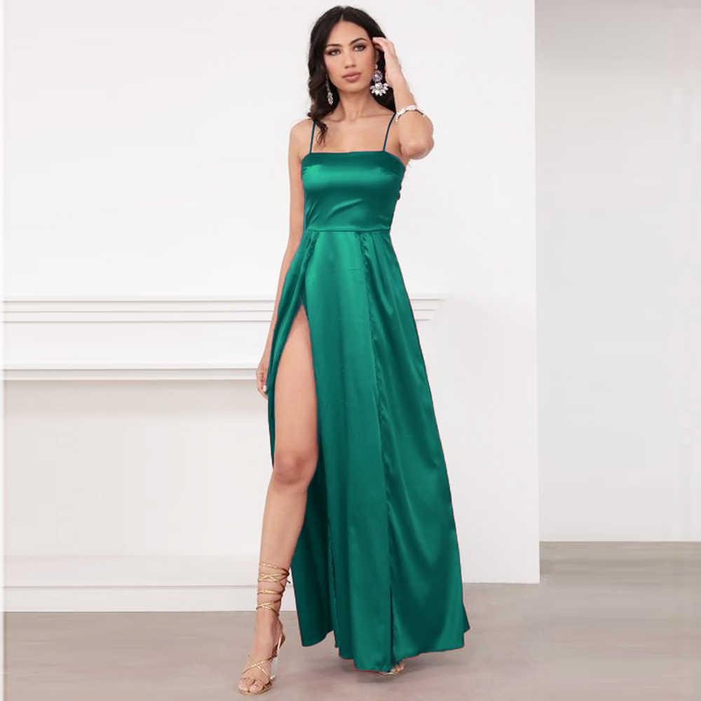 Sexy Backless Party Kleid Sommer Satin Lange Kleid Bein Schlitze Strappy Aushohlen Bogen Spitze Up Grun Rot Dresses Aliexpress