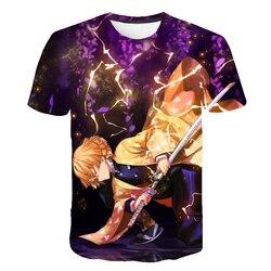 3D футболка для маленьких мальчиков, девочек, демон, убийца, Япония, аниме, Харадзюку, призрак, лезвие, Графический Топ, забавная футболка, оде...