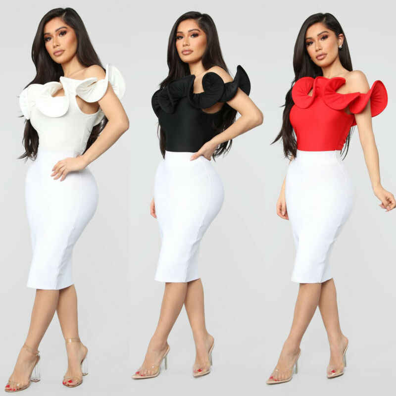 Wanita Elegan Baju Monyet Padat Warna Slim Fit Fashion Off Bahu Jumpsuit Bodycon Kurus Baju